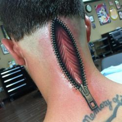 3D zipper tattoo