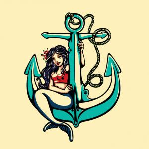 Mermaid pin-up girl sitting on anchor