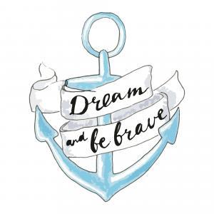 Blue hand drawn anchor