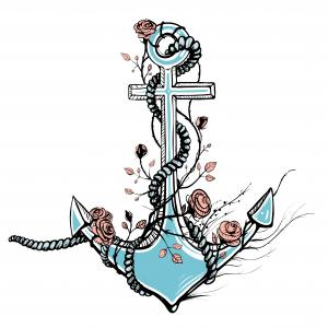 Old Anchor with Roses