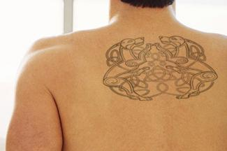 Celtic Double Dog Tattoo on Back