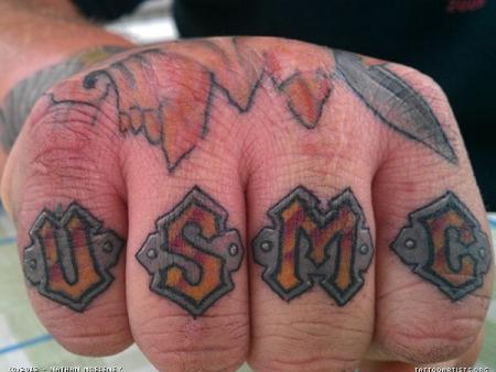 USMC knuckle tattoo by Nathan McEleney