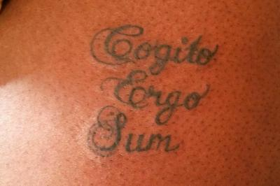 cogito ergo sum tattoo by artist IG user @ki_ladyink_taylor