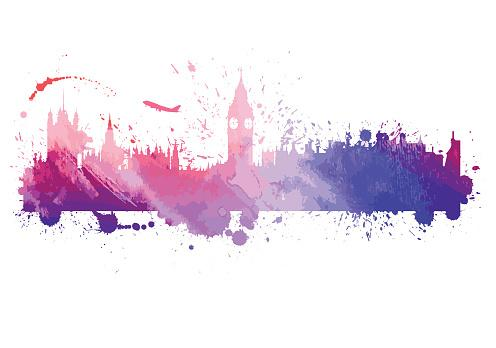 Watercolor London Skyline
