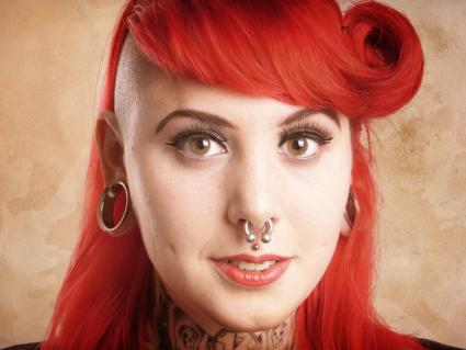 Woman with septum pierced