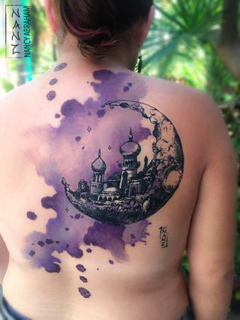 Fantasy crescent moon city watercolor tattoo