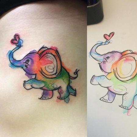 Photo of cute watercolor elephant tattoo