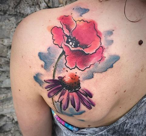 Image of poppy and coneflower watercolor tattoo