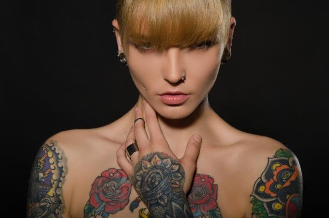 woman with a tattoo
