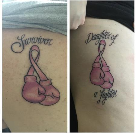 Breast cancer mother/daughter matching tattoos Clear