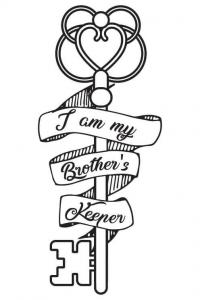 Image of key and ribbon Brother's Keeper tattoo