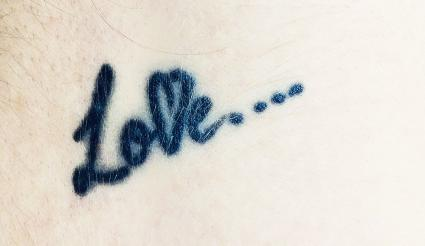 Love text tattoo