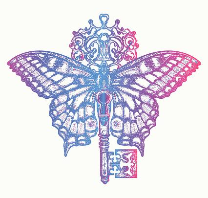 Butterfly and key color tattoo art