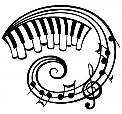 Piano and music notes tattoo design