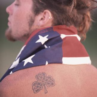 Man with shamrock tattoo