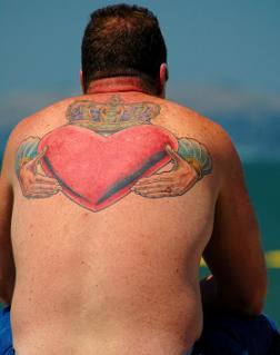 claddagh back tattoo