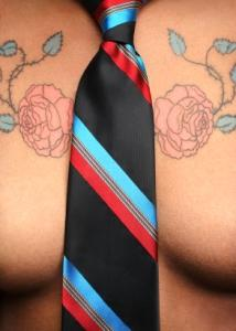 Business casual breast tattoo