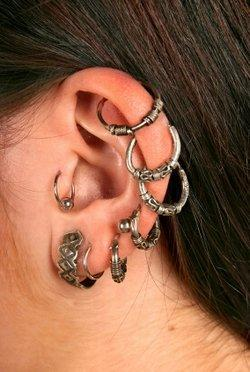 A tragus piercing followed by various lobe and helix piercings