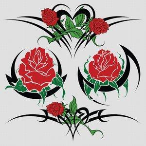 Tribal rose tattoo art