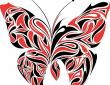 Red and black butterfly tattoo art