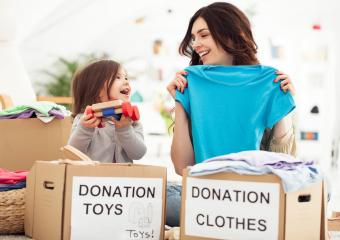 Mother and daughter donating