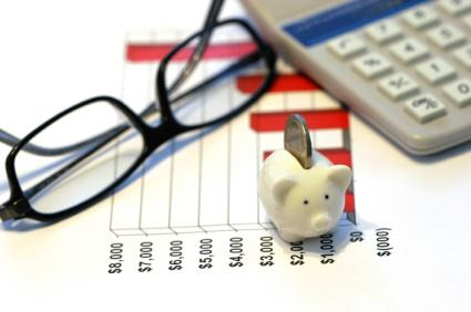 Glasses, calculator and piggy bank