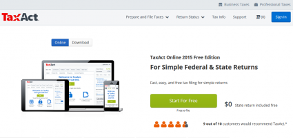 TaxACT Free File website