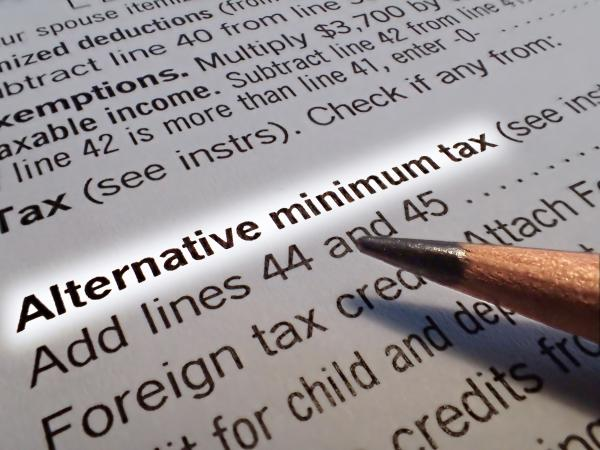 Alternative Minimum Tax line highlighted