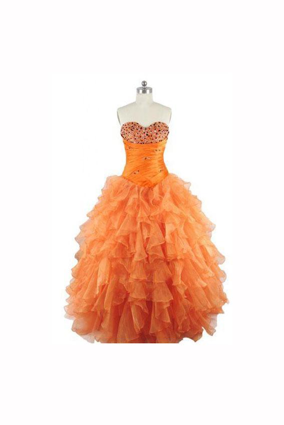 Strapless Orange Prom Dress