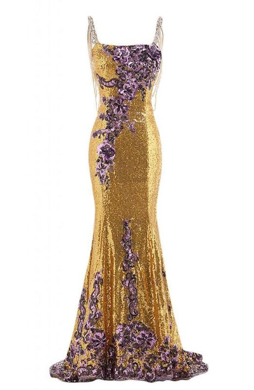Gold Gown With Purple Flowers By Gorgeous Bridal