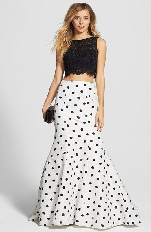 White and coral two piece prom dress Source · Lace crop top with polka dot  mermaid skirt