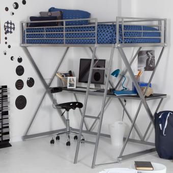 Bed loft and desk from Hayneedle http://www.hayneedle.com/sale/zbunkbedloftdesksilver.cfm