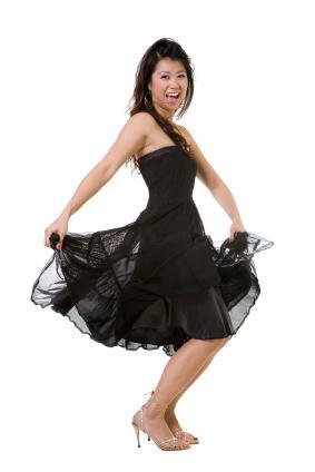 girl in knee-length semi-formal dress