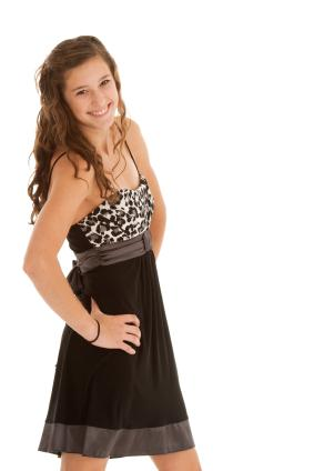 Teen girl in simple semi-formal dress