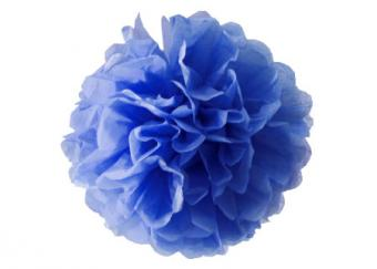 Image of a blue tissue paper pom pom