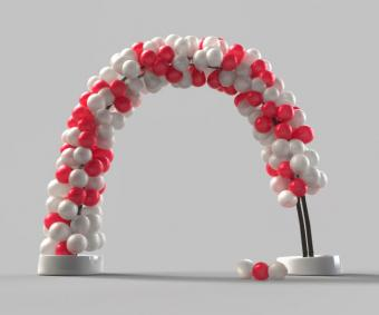 Red and white balloon arch for a prom