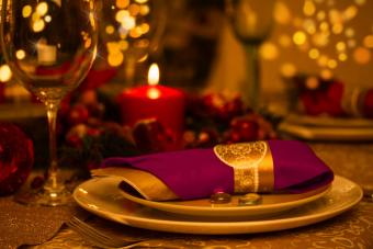 Jewel-tone table setting for prom