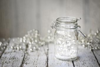 Fairy lights in a Mason jar as a prom decoration