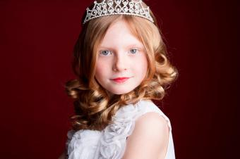 Young girl dressed for beauty pageant
