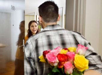 teen with flowers picking up date