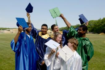 Graduates cap and gown colors