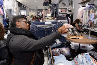 Shopper at Torrid Chicago flagship store