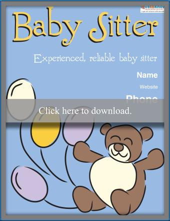 Bears and Balloons Babysitting Poster