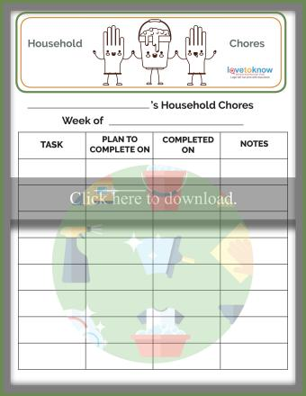 Blank Chore List for Teens