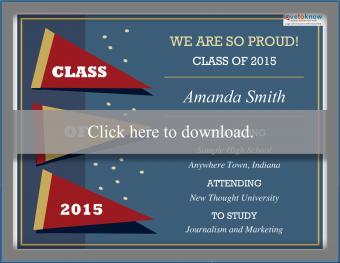 Class pennant printable graduation announcement