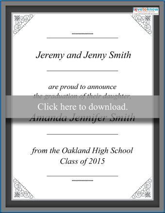 Printable graduation announcement from parents