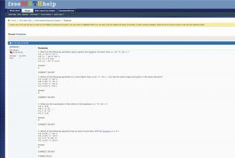 Screenshot of freemathhelp website