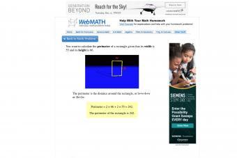 Screenshot of webmath website