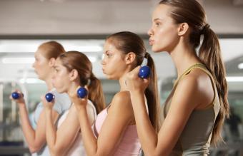Teen girls exercising