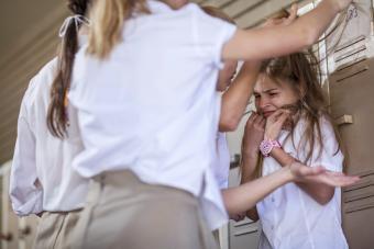 Female high school students bullying classmate